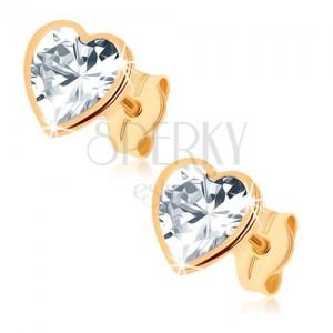 375 arany fülbevaló - csillogó szívecske csiszolt cirkóniából, fényes keret
