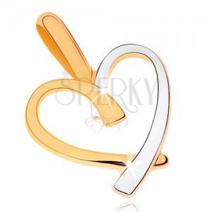 Kétszínű medál 9K aranyból - egyenetlen szív kontúr