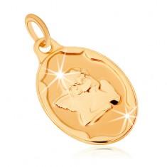375 arany medál - ovális tábla, fejét támasztó angyal