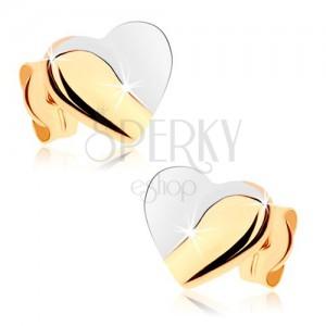 Ródiumozott fülbevaló 9K aranyból - szívecske fényes és matt részekkel