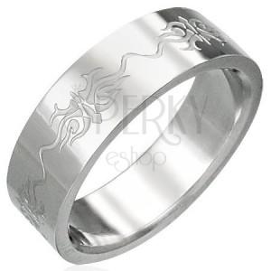 Gyűrű sebészeti acélból - bemart ornamentumok