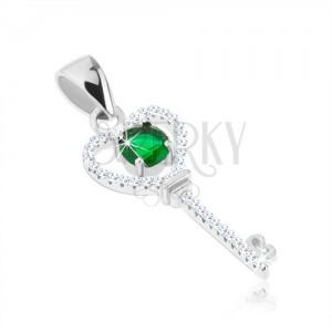 Medál 925 ezüstből, csillogó kulcs, zöld kerek cirkónia