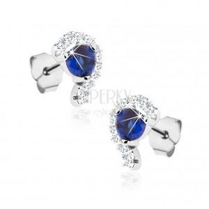 Bedugós fülbevaló, 925 ezüst, cirkóniás fél szív, kék cirkónia