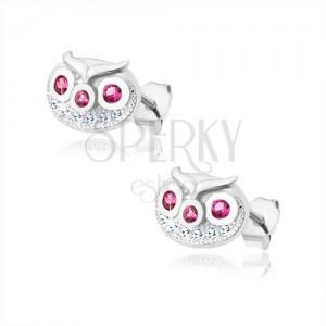 Fülbevaló 925 ezüstből, bagolyfej átlátszó és rózsaszín cirkóniákkal