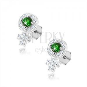 925 ezüst fülbevaló, női nem csillogó jele, zöld cirkónia