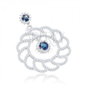 925 ezüst medál, nagy csillogó virág körvonal, kerek kék cirkóniák