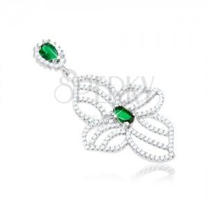 925 ezüst medál, egyenetlen virág körvonal, átlátszó és zöld cirkóniák