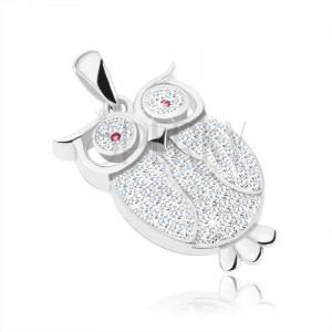 Medál - 925 ezüst, bagoly átlátszó cirkóniákkal kirakva, fukszia színű szemek, tollak