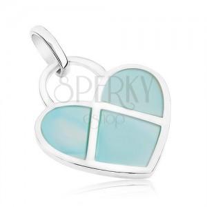 Medál 925 ezüstből, lapos szívecske kék gyöngyházfénnyel díszítve