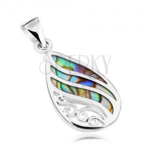 925 ezüst medál, könnycsepp - Paua kagyló, hullámos fényes vonalak és spirálok