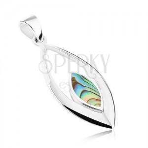 Medál 925 ezüstből, levél körvonal kisebb Paua kagylóval díszített oválissal
