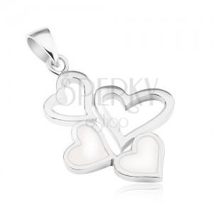 925 ezüst medál, két szív kontúr és két szívecske fehér fénymázzal