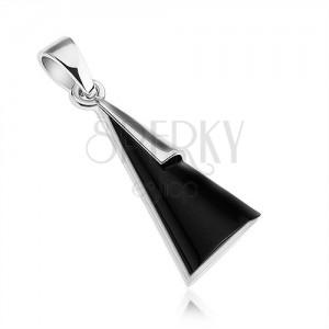 Medál - 925 ezüst, háromszög fekete ónix imitációval