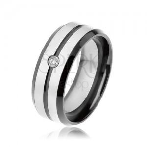 Fekete gyűrű 316L acélból, matt sávok ezüst színben, átlátszó cirkónia