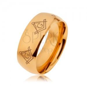 Acél gyűrű arany színben, tükörfény, szabadkőművesek szimbólumai