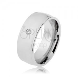 Gyűrű 316L acélból, ezüst szín, fény, kiemelkedú szélek, átlátszó cirkónia