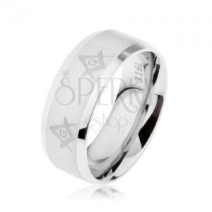 Gyűrű sebészeti acélból ezüst színben, szabadkőműves szimbólumok