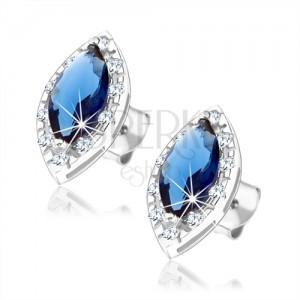Bedugós fülbevaló 925 ezüstből kék cirkóniás szem átlátszó kerettel