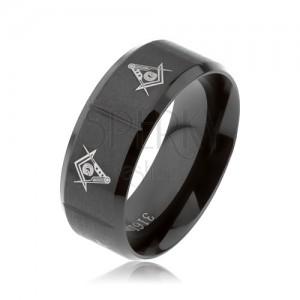 Gyűrű 316L acélból, fekete szín, szabadkőműves szimbólumok, függőleges bemetszések