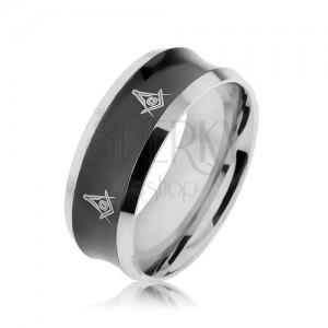 Acél gyűrű ezüst és fekete színben süllyesztett középpel, szimbólumok
