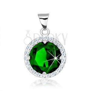 925 ezüst medál, kerek smaragdzöld kő, átlátszó cirkóniás keret