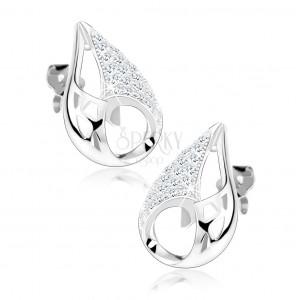 925 ezüst fülbevaló, könnycsepp körvonal, háromszögek, kivágások, átlátszó cirkóniák