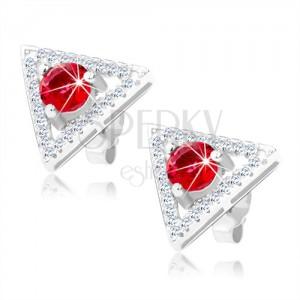 925 ezüst fülbevaló, háromszög kontúr - átlátszó cirkóniák, kerek piros kő