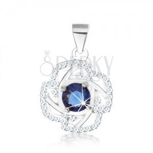 925 ezüst medál, virág körvonal, kerek cirkónia kék színben, ezüst vonalak