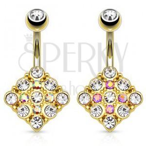 Acél piercing köldökbe arany színben, négyzet csillogó cirkóniákkal kirakva