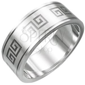 Gyűrű minőségi acélból - görög kulcs mintázatok