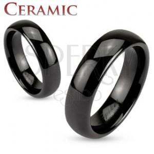 Kerámia gyűrű fekete színben, fényes és sima felület, 6 mm