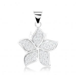 925 ezüst medál, virág - szirmok átlátszó cirkóniákkal díszítve, oldalsó kivágások