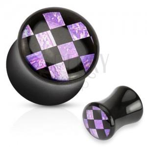Fényes nyerges plug fülbe fekete színben, akril, fekete-lila sakktábla