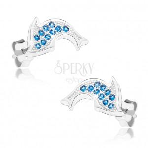 Ródiumozott fülbevaló 925 ezüstből, csillogó delfin, kék cirkóniák
