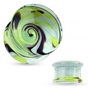 Átlátszó plug fülbe pyrex üvegből, sárga, fekete és fehér színű örvény motívum