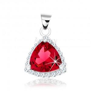 925 ezüst medál, lekerekített háromszög, rózsaszín cirkónia, csillogó keret