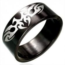 Fekete acél gyűrű - TRIBAL szimbólum