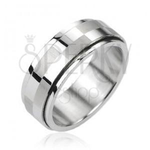 Acél gyűrű ezüst színben, forgatható középső sáv sakktábla motívummal