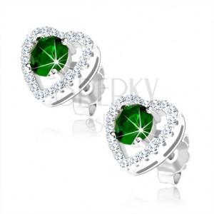 925 ezüst fülbevaló, kerek zöld cirkónia csillogó szív körvonalban, kivágások