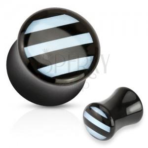 Nyerges plug akrilból fekete színben, fényes felület, fehér sávok az elülső oldalon