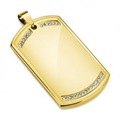 Acél medál arany színben, fényes lapos tábla, átlátszó cirkóniákból álló vonal