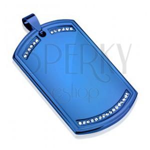 Medál 316L acélból, dögcédula kék színben, átlátszó cirkóniás vonal