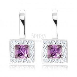 Fülbevaló, 925 ezüst, lila négyzetes cirkónia, átlátszó keret, kivágások