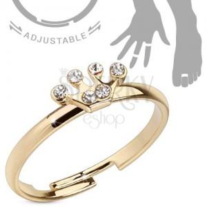 Fényes gyűrű arany színben kézre vagy lábra, korona cirkóniákkal