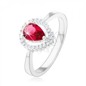 925 ezüst gyűrű, rózsaszín cirkóniás könnycsepp, csillogó kontúr