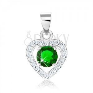 925 ezüst medál, sötétzöld cirkónia, csillogó szív körvonal