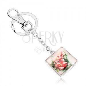 Kaboson kulcstartó - négyzet kidomborodó üveggel, kinyílt rózsaszín virágok