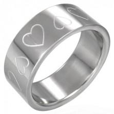 Minőségi acél gyűrű - bemart szívecskék