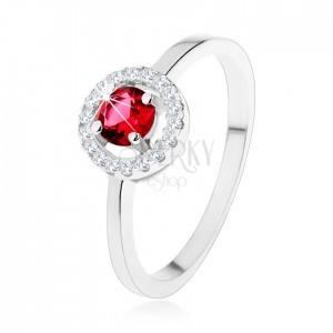 Eljegyzési gyűrű 925 ezüstből, kerek piros cirkónia, átlátszó keret