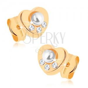 Fülbevaló sárga 9K aranyból - szívecske, fehér gyöngy, tiszta cikróniák
